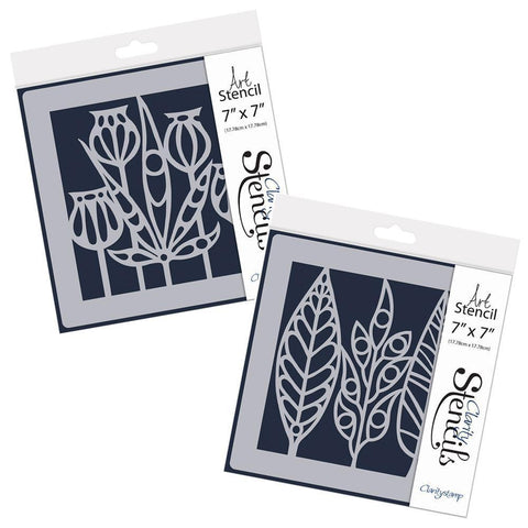 "Funky Foliage & Leaves Stencil Set 7"" x 7"""