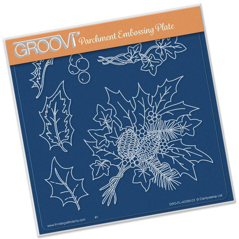 Jayne's Holly & Ivy <br/> A5 Square Groovi Plate <br/> (Set GRO-FL-40419-03)
