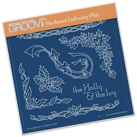 Jayne's Holly & Ivy Name A5 Square Groovi Plate (Set GRO-FL-40419-03)