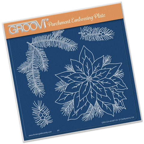 Jayne's Poinsettia <br/> A5 Square Groovi Plate <br/> (Set GRO-FL-40420-03)