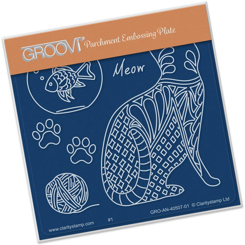 Feline Delights - Cat Back <br/>Groovi Baby Plate A6 Square <br/>(Set GRO-AN-40527-01)