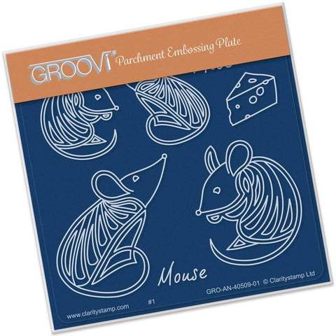 Feline Delights - Mice <br/>Groovi Baby Plate A6 Square <br/>(Set GRO-AN-40527-01)
