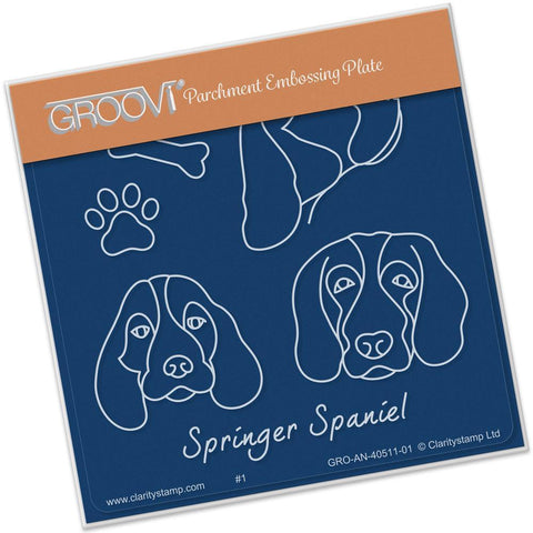 Kennel Club - Springer Spaniels <br>Groovi Baby Plate A6 Square <br/>(Set GRO-AN-40525-01)