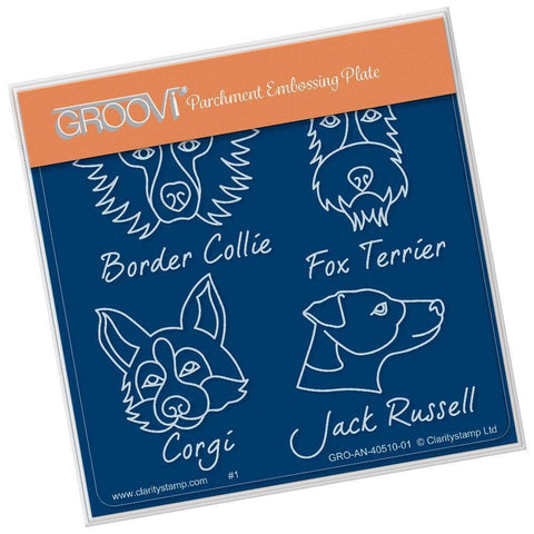 Dog Breeds <br/>A6 Square Groovi Baby Plate <br/>(Set GRO-AN-40525-01)