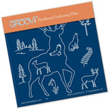 Stag Outline A6 Square Groovi Baby Plate (Set GRO-CH-40821-01)
