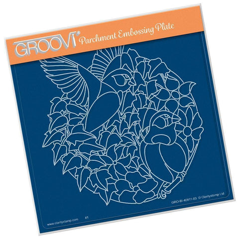 Leafy Birds Round <br/>A5 Square Groovi Plate <br/>(Set GRO-TR-40835-03)
