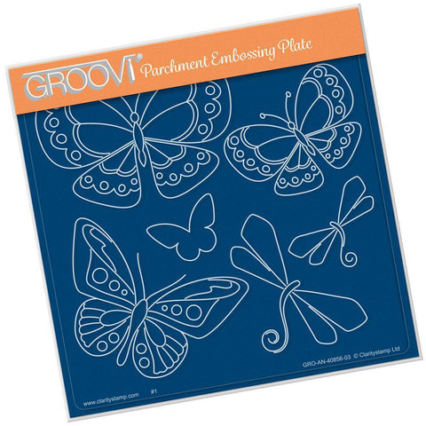 Tina's Butterfly Fun A5 Square Groovi Plate (Set GRO-AN-41015-03)