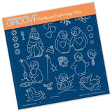 Linda's Penguins A5 Square Groovi Plate