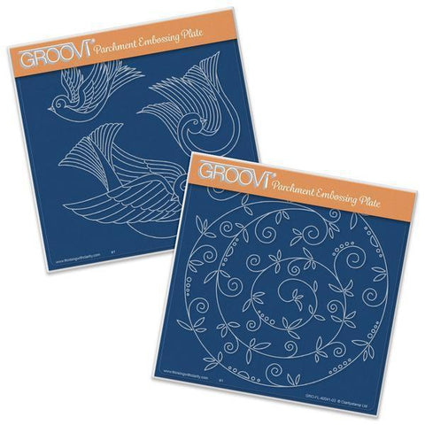 Doves & Sprig Swirl <br/>A5 Square Groovi Plate Set