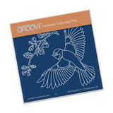 Large Garden Bird with Branch A6 Square Groovi Baby Plate (Set GRO-BI-40284-01)