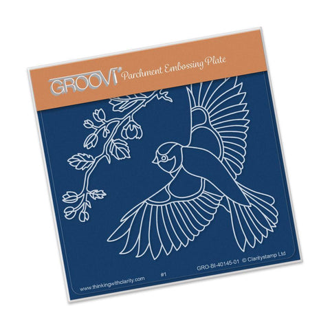 Large Garden Bird with Branch <br/>A6 Square Groovi Baby Plate <br/>(Set GRO-BI-40284-01)