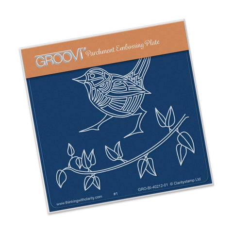 Wren & Leaves <br/>A6 Square Groovi Baby Plate <br/>(Set GRO-BI-40334-01)