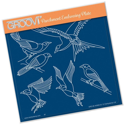 Feathered Friends A5 Square Groovi Plate (Set GRO-BI-40574-03)