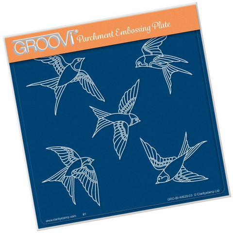 House Martins <br/>A5 Square Groovi Plate <br/>(Set GRO-BI-40819-03)