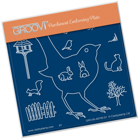 Bird Outline <br/>A6 Square Groovi Baby Plate <br/>(Set GRO-TR-40822-01)