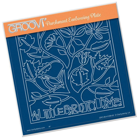 A Little Bird Told Me <br/>A5 Square Groovi Plate <br/>(Set GRO-BI-41119-03)