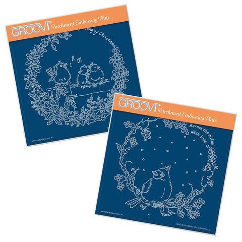Linda's Robins & Red Cardinal Wreath Duet <br/>A5 Square Groovi Plate Set