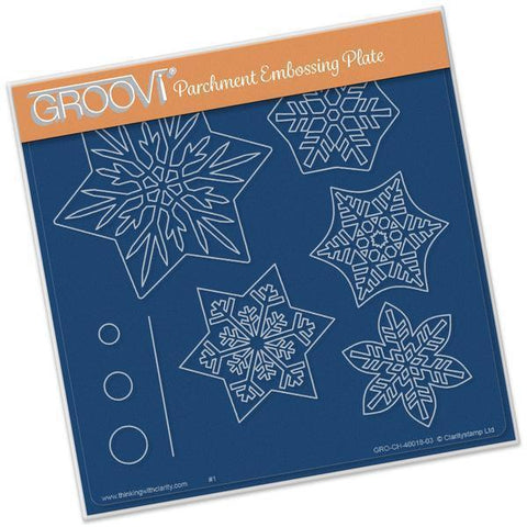 Snowflakes A5 Square Groovi Plate (Set GRO-CH-40032-03)