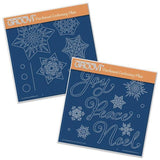 Snowflakes & Christmas Words A5 Square Groovi Plate Set