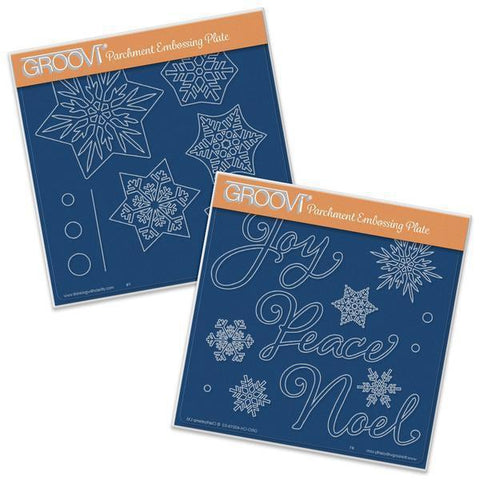Snowflakes & Christmas Words <br/>A5 Square Groovi Plate Set