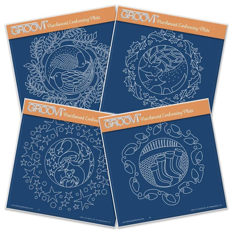 Christmas Rounds Collection <br/>A5 Square Groovi Plate Set