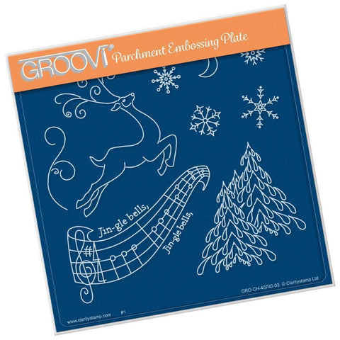 Jingle Bells <br>A5 Square Groovi Plate <br/>(Set GRO-CH-40800-03)