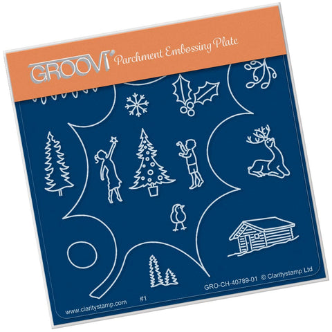 Holly Leaf Outline A6 Square Groovi Baby Plate (Set GRO-CH-40821-01)