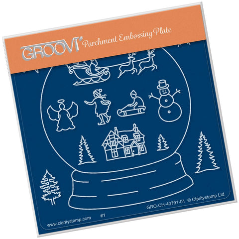 DEUTSCH Snow Globe Outline <br/>A6 Square Groovi Baby Plate <br/>(Set GRO-CH-41060-01)