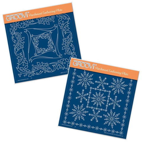 Tina's Holly & Snowflake Frames A5 Square Groovi Plate Set