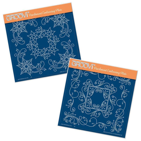 Tina's Poinsettia & Star Frames <br/>A5 Square Groovi Plate Set