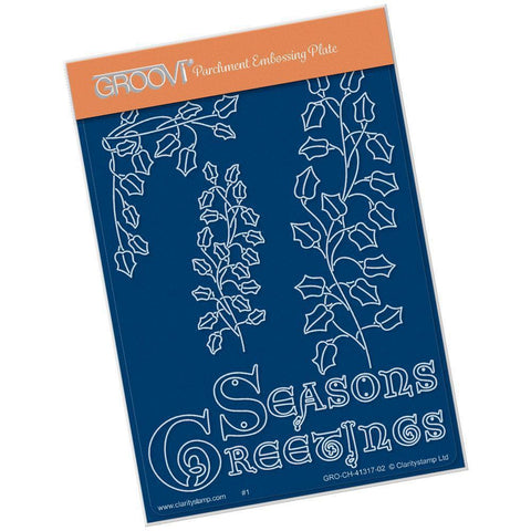 Ivy Branch with Seasons Greetings <br/>A6 Groovi Plate