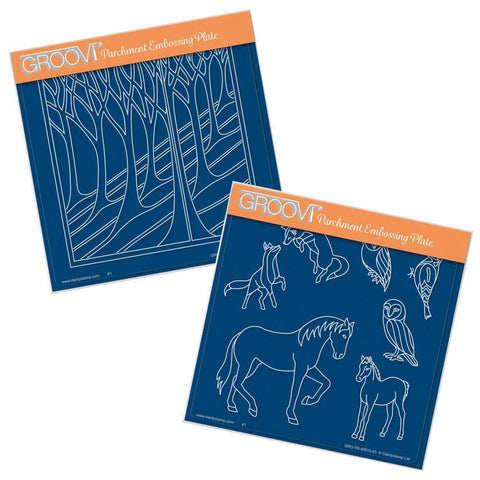 Country Animals & Hillside <br/>A5 Square Groovi Plate Set