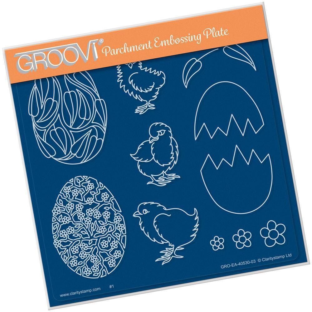 Ornate Eggs & Chicks <br/>A5 Square Groovi Plate <br/>(Set GRO-EA-40572-03)