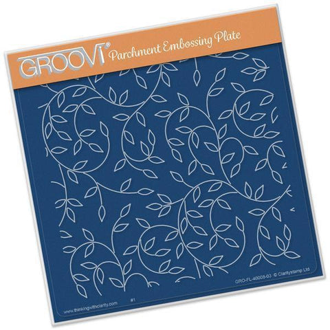 Sprig Background A5 Square Groovi Plate (Set GRO-FL-40011-03)