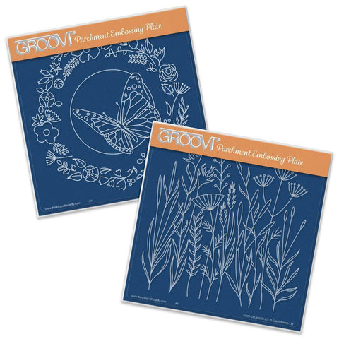 Butterfly Wreath & Meadow Grasses <br/>A5 Square Groovi Plate Set