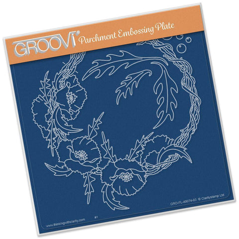 Poppy Wreath <br/>A5 Square Groovi Plate <br/>(Set GRO-FL-40088-03)