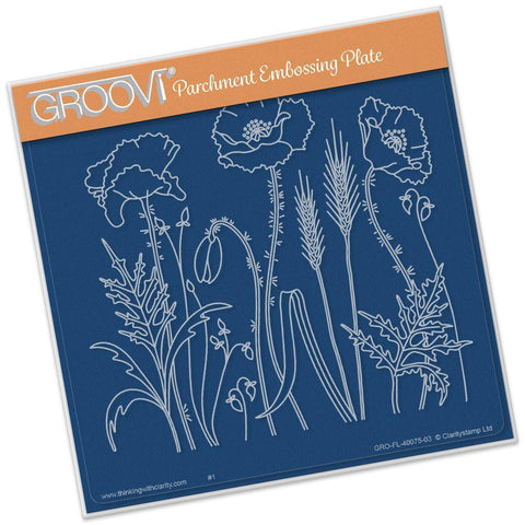 Poppy Field <br/>A5 Square Groovi Plate <br/>(Set GRO-FL-40088-03)