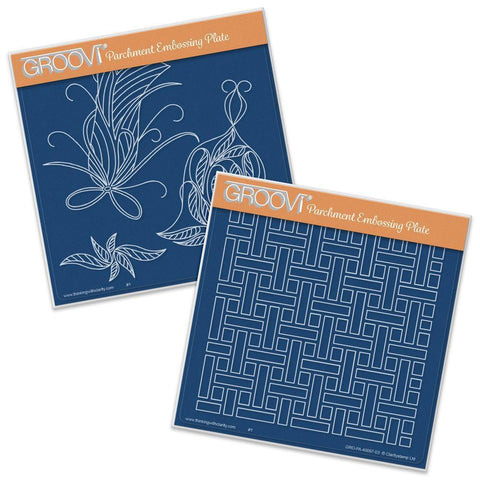 Bells & Woven Background <br/>A5 Square Groovi Plate Set