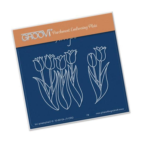 Tulips <br/>A6 Square Groovi Baby Plate <br/>(Set GRO-FL-40335-01)