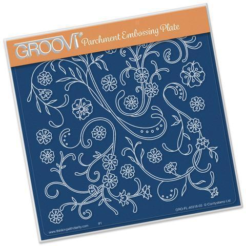 Jayne's Flourishes <br/>A5 Square Groovi Plate <br/>(Set GRO-FL-40328-03)