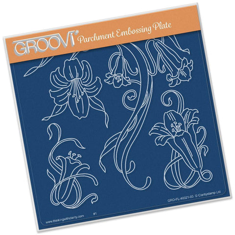 Jayne's Trumpet Lilies <br/>A5 Square Groovi Plate <br/>(Set GRO-BI-40327-03)