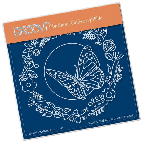 Baby Butterfly Wreath <br/>A6 Square Groovi Plate