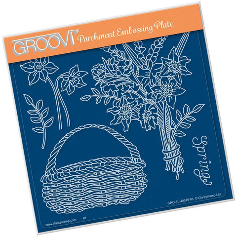 Spring Bouquet A5 Square Groovi Plate (Set GRO-FL-40935-03)