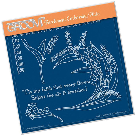 Lily of the Valley <br/>Groovi Plate A5 Square <br/>(Set GRO-FL-40585-03)