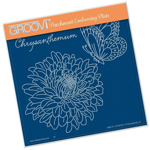 Chrysanthemum & Butterfly <br/>A5 Square Groovi Plate <br/>(Set GRO-FL-40786-03)