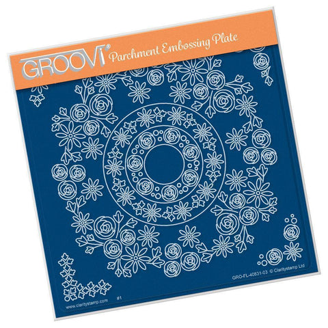 Tina's Rosie Doodle Wreath <br/>A5 Square Groovi Plate <br/>(Set GRO-FL-40846-XX)
