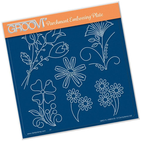 Tina's Flower Fun A5 Square Groovi Plate (Set GRO-FL-41016-03)