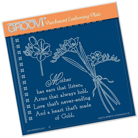 Freesias & Mother Verse A5 Square Groovi Plate (Set GRO-FL-40935-03)