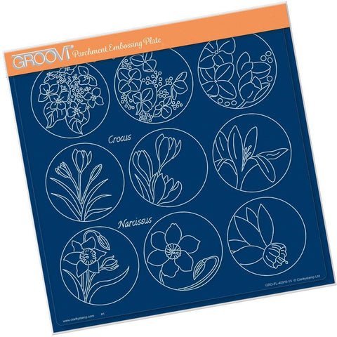 Linda's 123 Flowers - C <br/>Hydrangea, Crocus & Narcissus <br/>A4 Square Groovi Plate