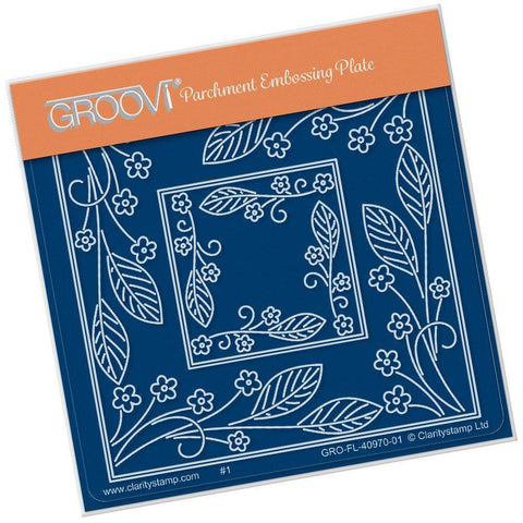 Tina's Forget Me Not Parchlet <br/>A6 Square Groovi Baby Plate <br/>(Set GRO-FL-41031-01)